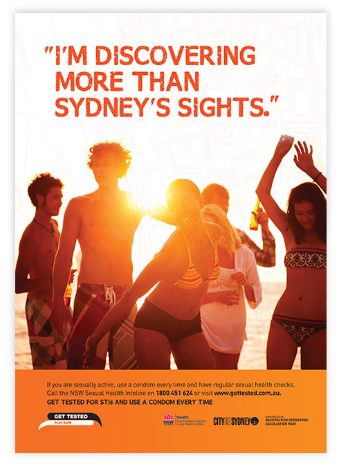 Backpacker's Sexual Health Campaign Poster for South Eastern Sydney Local Health District
